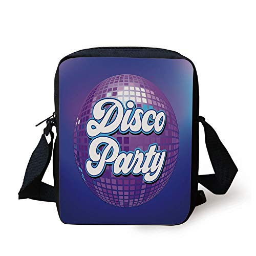 CBBBB 70s Party Decorations,Retro Lettering on Disco Ball Night Club Theme Dance and Music Decorative,Purple Blue White Print Kids Crossbody Messenger Bag Purse (White Wine Club)