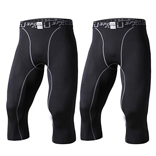 EU Herren Kompressionshose 3/4 Tights Base Layer Running Sport Capri Pants - schwarz - US Mediumedium(Etikett X-Large) 3/4 Base Layer Pants