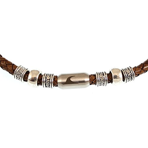 WAVEPIRATE® Echt Leder-Halskette Charm F Cognac/Silber 51 cm Edelstahl-Verschluss in Geschenk-Box Surfer Herren Männer