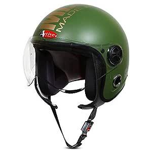 ACTIVE JET MLG 1901 Open Face Helmet (GREEN)