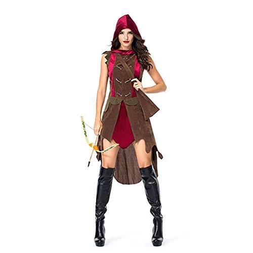 HOOLAZA Frauen Rollenspiel Jäger Robin Hood Kostüm Mit Kapuze Ancient Archers Warriors Cosplay Kleid 2 Stücke (Robin Kostüme Frauen)