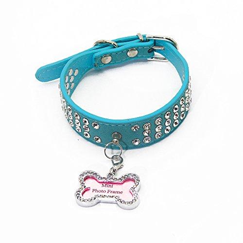 PET SPPTIES Bling de Cuero del Rhinestone Lleno de Mascotas de la PU del Diamante para el Gato Perro...