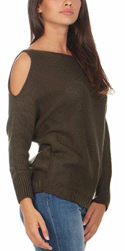 malito Damen Pullover cold-shoulder Design | Longsleeve im Grobstrick Look | Strickpullover �?Rundhals - Oberteil �?7335 Oliv