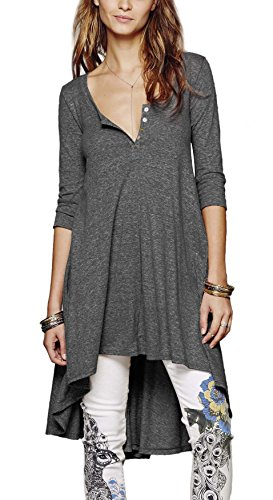 Urbancoco Damen kurz Ärmelige button down Asymmetrisch T-Shirt Sommer Tunika (XXL, Heather Grau)