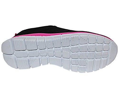 Da donna 816109Galop scarpe con lacci leggero casual comfort sport All Black/Fuchsia