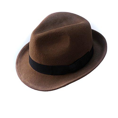Trilby Hut 100% Wolle Filz Panama Fedora Jazz Sun Beach Stil mit schwarz Band Delle Krone für Männer Outfits (Für 1920 Herren Outfits)