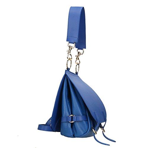 Chicca Borse Borsa a tracolla in pelle 25x27x10 100% Genuine Leather Blue