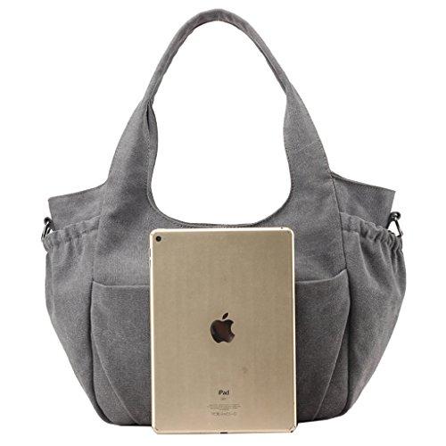 Super Modern Damen Casual Leinwand Tragetaschen Handtasche Hobos Bag Schulter Taschen top-hanle Tasche Einkaufstasche Weekender Umhängetasche Grau