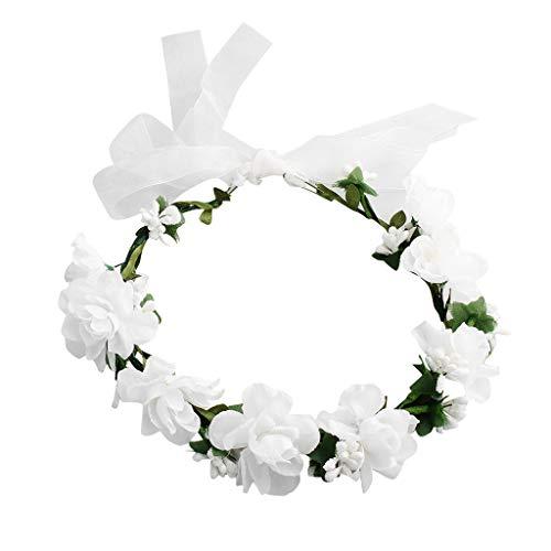 Blumenkranz, Hochzeit Blumen Haarband, Blumenkrone, Blumenstirnband, Kopfkranz Garland, Brautschmuck Blumen Stirnband Blumenkrone Boho Blumen Haarkranz Brautbrautjungfern Haarband für Damen Mädchen