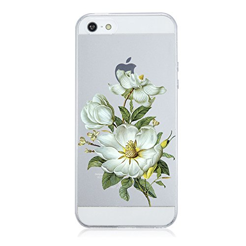 Qissy® TPU iPhone 5S SE 5 coperchio trasparente per la copertura della cassa Hülle silicone Bello fiore della vite (iPhone 5S SE 5, 8)