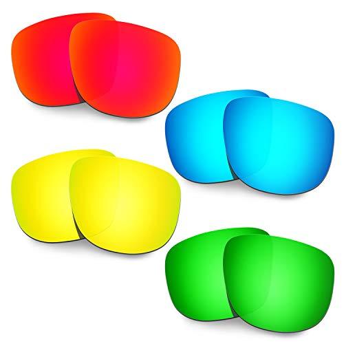 HKUCO Verstärken Ersatz-Brillengläser für Oakley Holbrook R OO9377 Rot/Blau/24 Karat Gold/Grün Sonnenbrille