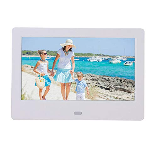 JackeyLove 7 Zoll Digital Photo Frame, 1024 × 600 HD Picture-1080P, MP3 Music, E-Book, Kalender, Alarmuhr, unterstützt Multiple File Formats und Externe USB-SD-Speicher,White