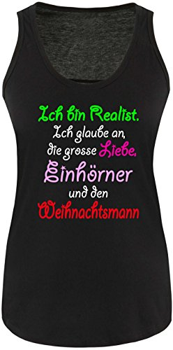 Luckja Ich bin Realist Damen Tanktop Schwarz/Bunt