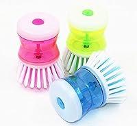 Premium Quality 3 Pcs/Set of Sevia's Utensil/Washbasin Plastic Cleaning Brush with Liquid Soap Dispenser Assoted Colors