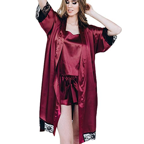 Kimono Corto Bata de Satén Vestido Pijama Mujer Lencería con Cordón Satén Seda de Hielo Bata Albornoz Camisón Bodydoll Sleepwear(Vino,XL)