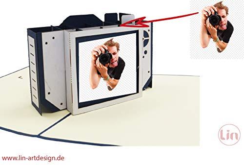 Lin 17570, Pop up Karte Geburtstag Kamera - 3D Karte, Kamera Grußkarte, Geburtstagskarten Fotografen, Gutschein Fotoapparat, N319