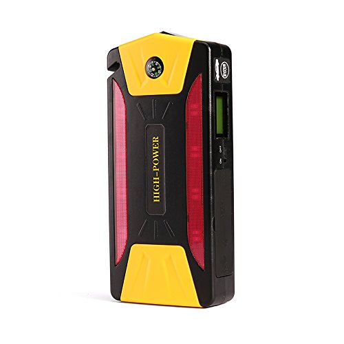 Preisvergleich Produktbild teetox 600A Peak 20000mAh Tragbar Flame und Explosion Proof Car Jump Starter Handy Ladegerät mit Smart Charging Port, Kompass, LCD-Bildschirm und LED Licht (schwarz/gelb)