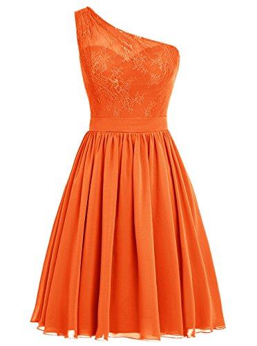 Dresstells Damen Kurz Brautjungfernkleider One Shoulder Abiballkleider Orange