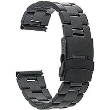 TRUMiRR 22 mm de acero inoxidable reloj de Seguridad de la banda de la hebilla de la correa para Samsung Gear S3 Classic/Frontier, Gear 2 R380 R381 R382, Moto 2 360 46mm, Guijarro Tiempo / Acero, Asus ZenWatch 1 2 Los hombres, LG G Reloj urbano W150