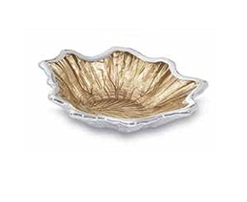 Silver and glass maple leaf bowl - art. D70.0401 - Sweet Home by Varotto & Co. (Maple Bowl)