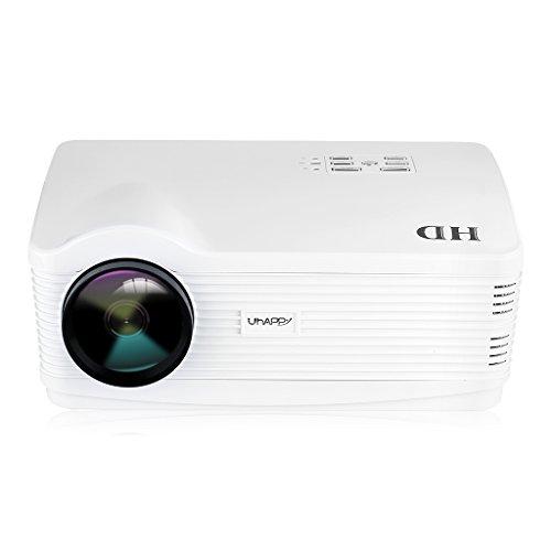 Uhappy H2 - HD proyector inalámbrico Home Cinema (Android 4.44, Wifi, 3000 lúmenes, resolución 1280*768, 720P HDMI/USB/SD/ATV/AV/VGA),