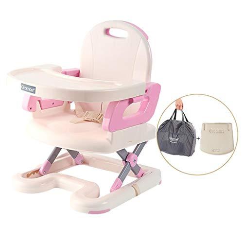 HuaHua Furniture Hochstuhl, Leichte Infant Comfort Portable Sitzerhöhung Baby Klapp Kunststoff Esszimmerstuhl Kleinkind Multifunktionshocker, kostenlose Installation - Pink (Portable Hochstuhl Sitzerhöhung)