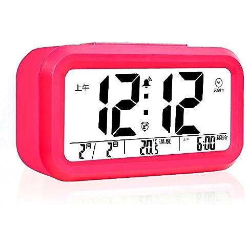 KHSKX Nuova elettronica sleep intelligente orologio sveglia luminosa tranquilla nei giorni feriali tre gruppi di orologio sveglia bambini letto moda may red