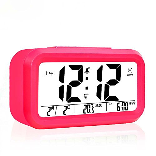 KHSKX Neue elektronische Schlaf smart hellen ruhigen Wochentag Alarm Uhr drei Gruppen von Alarm Clock Mode Bett Kinder Uhr may (Zone Kostüm Red)
