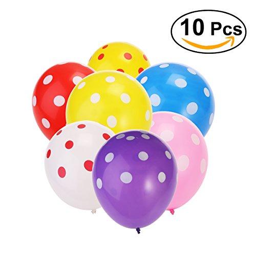 NUOLUX Polka Dots Luftballons, Latexballons 12 Zoll für Party Dekoration, 10pcs (Polka Dot Ballons Pink)