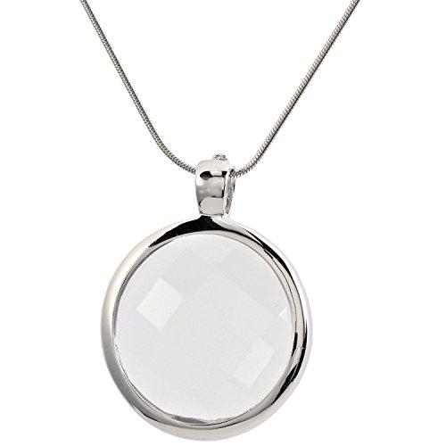 Yvesse Damen Halskette mit Wechselanhänger Sterling Silber 925 rhodiniert Coins Bergkristall Rosenquarz Rauchquarz 45cm