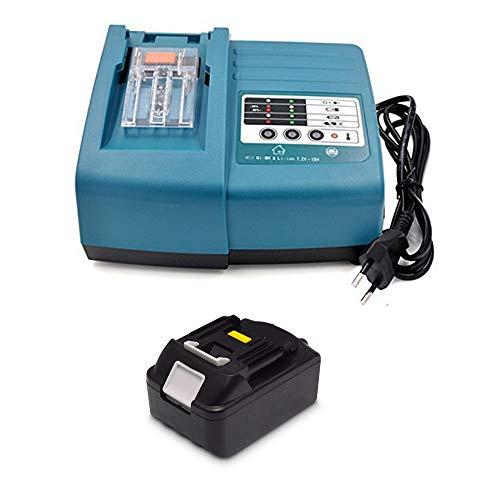 18V 3.0Ah Ersatz Akku mit Ladegerät für Makita Baustellenradio DMR100 DMR108 DMR107 DMR106 DMR106B DMR102 DMR104 DMR110 DMR101 DMR103B BMR102 BMR100 BMR104 18 Volt Radio Batterie