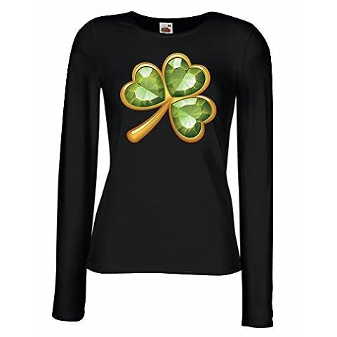 T shirts for women Long sleeve Irish shamrock St Patricks day clothing (X-Large Black Multi Color)