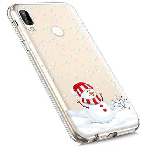 MoreChioce kompatibel mit Huawei P Smart Plus Hülle,kompatibel mit Huawei P Smart Plus Handyhülle, Durchsichtig Silikon Weihnachten Schneeflocke Hirsch TPU Gel Bumper,Schneemann,EINWEG - Man Schneemann Wie Einen