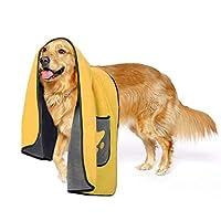 Zellar Pet Dog Cat Towel, Soft Quick Drying Super Absorbent Microfibre Bathrobe Towel for Dogs Cats Pets with Pocket,106x66 cm, Yellow
