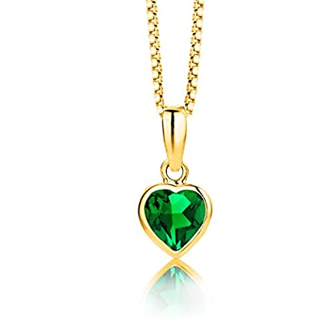 Byjoy 925 Gold Plated Heart Shaped Emerald Pendant on 45cm