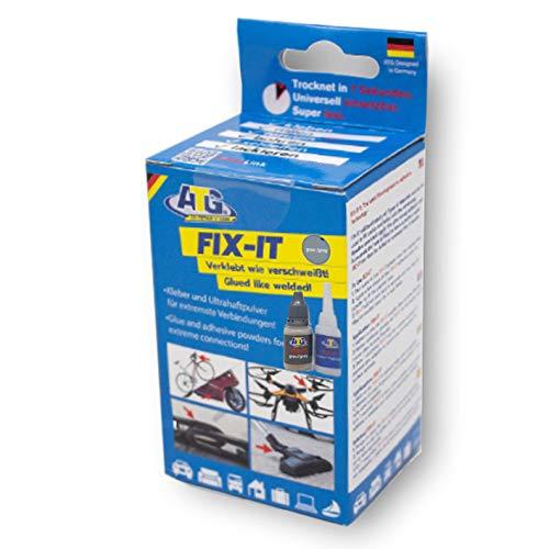 ATG FIX-IT -Transparent - Sekundenkleber Extra Stark Mit Granulat - Industriekleberset für Kunststoff Plastik Metall Holz - Graues Granulat -