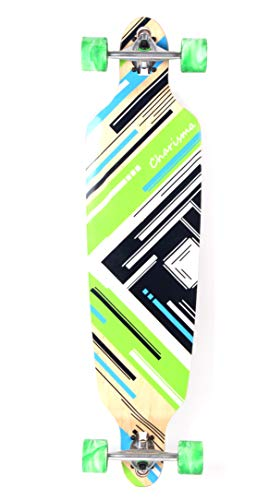 "MAXOfit® Longboard \""Charisma Green\"" | Drop Through/Drop Down Komplettboard | 101 x 25 cm | mit ABEC-11 Kugellager | Freeride Cruiser-Board"