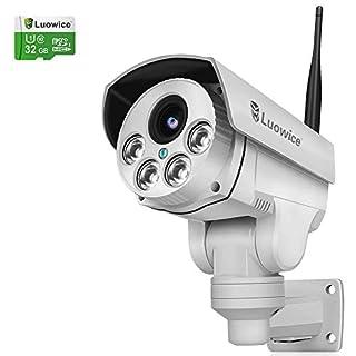 Luowice drahtlose PTZ IP Kamera WiFi Überwachungskamera 1080p optischem 4-Fach Zoom HD-Auflösung 100ft IR-Nachtsichtreichweite ONVIF 2.0 für Indoor und Outdoorverwendung vorinstallierte 32GB TF-Karte