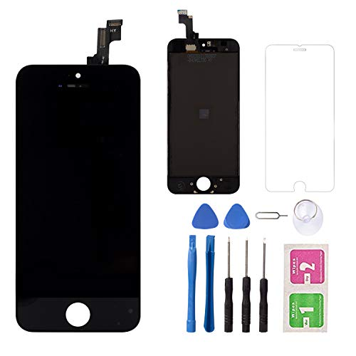 Ersatz-LCD-Touchscreen für IP 5C, Schwarz, LCD-Display, Digitizer, Touchscreen und Rahmen, Reparatur-Set und gehärtetes Glas - Ersatz-linse 5c Iphone