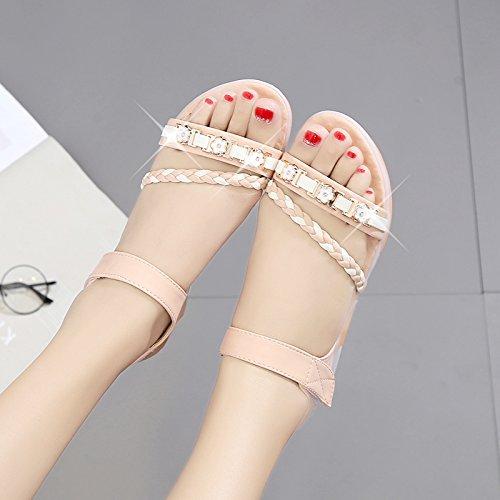 XY&GKFrau Sommer Flache untere Wohnung Heel Sandalen rutschfeste Mutterschaft's Schuhe Frauen Schuhe 38 Pink