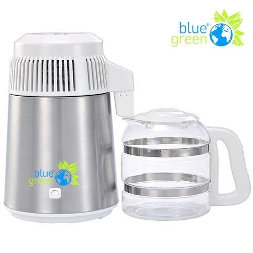 blue green Water Pro Edelstahl/Weiss | Destilliergerät mit Glaskanne | 4 Liter reines, destilliertes Wasser | Kein Kontakt mit Plastik | Megahome - Kein Wasser