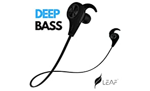 Leaf Ear Wireless Bluetooth 4.1 Sweatproof Sports Jogger Earphones with Deep Bass and Headset Compatible With Android and iOS Devices - Carbon Black