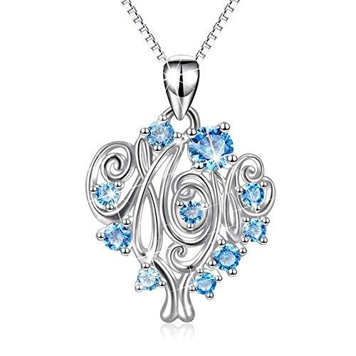 Baum des Lebens Anhänger, 925Er Sterling Silber Saphir Halskette, Mode Muttertag Valentinstag Geburtstag Geschenk Ewige Liebe Frau Mädchen Mit Kette 18 Zoll