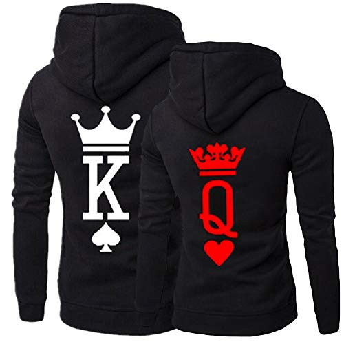 918coshiert King Queen Pullover Hoodies Pärchen Kapuzenpullover Langarm Paare Pulli Sweatshirt Couple Matching Hoodies Set(Herren M + Damen S Schwarz//King+Queen)