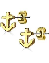 f1cda08ce605 Bungsa Ohrstecker ANKER - maritimes Ohrringe Set mit ANKERN in SILBER, GOLD  oder ROSEGOLD - für Damen   Herren - 1 Paar Ohrringe…
