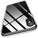 humixx iPhone Xs Case, iPhone X Case, Crystal Clear 9H Glass Tempered Back