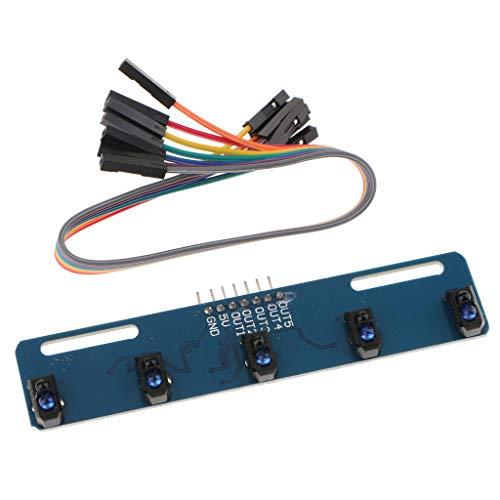 B Blesiya IR Line Track Sensor Module 5 Wege Infrarot Linien Reflexionssensor TCRT5000 - Line-spannung-track