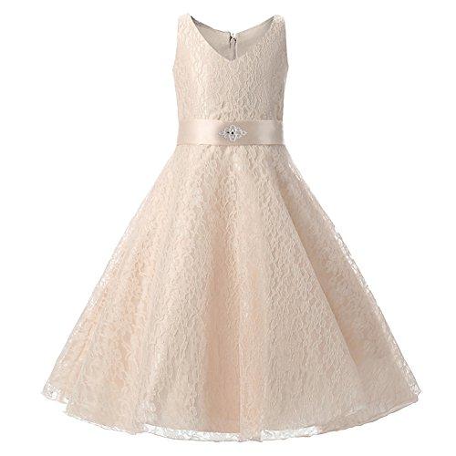 Free Fisher Mädchen Abendkleid Spitzenkleid, Golden, Gr.152/158(Herstellergröße: 160cm)
