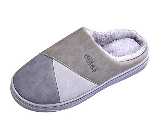 SK Studio Unisex Invernali Pantofole Peluche Chiuse Antiscivolo Scarpe Per Casa Grigio