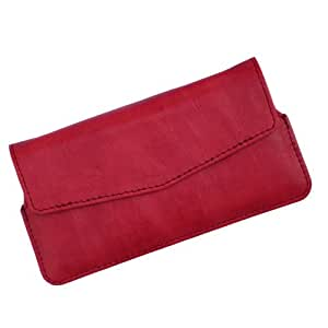 i-KitPit Quality PU Leather Pouch Case With Magnet Closure For Lava Xolo Q1000s (RED)